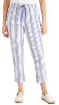 Karen Scott Petite Striped Cuffed Capri Pants, Created for Macy's