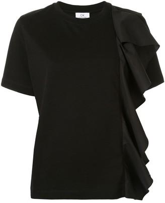 CK Calvin Klein ruffle trim T-shirt