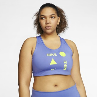 Nike Women's Medium-Support Sports Bra (Plus Size Swoosh Icon Clash