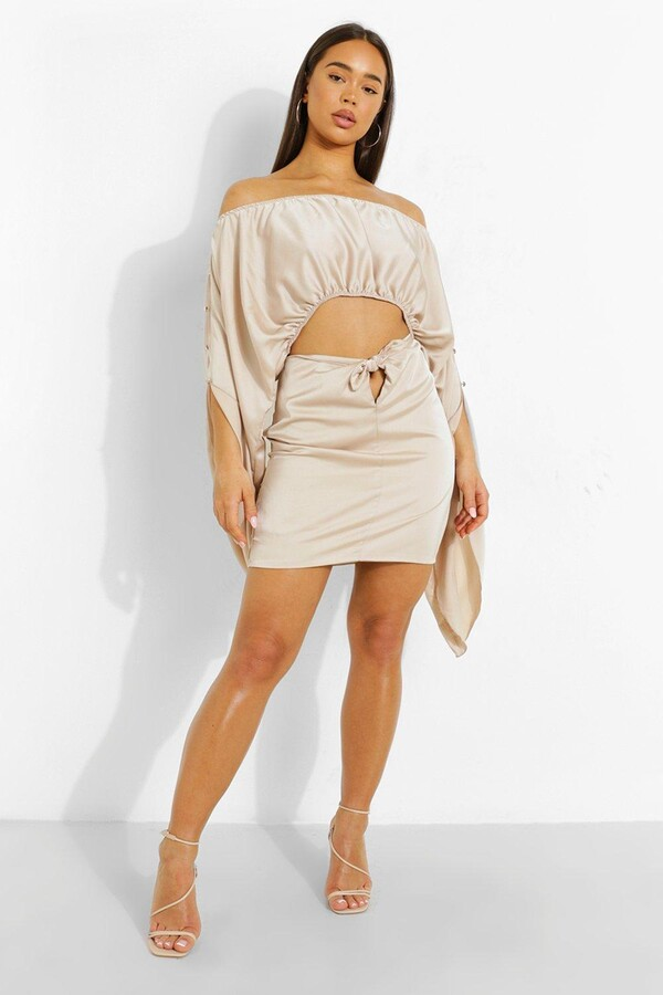 Thumbnail for your product : boohoo Satin Oversized Sleeve Top & Knot Mini Skirt