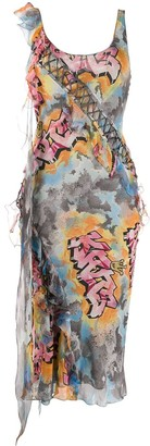 Christian Dior 2004 Graffiti Print Dress