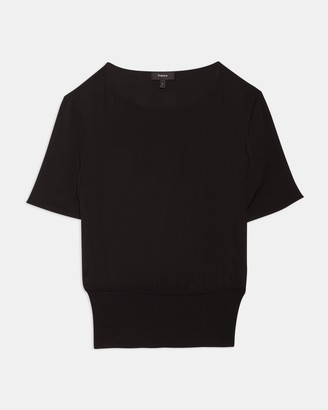 Theory Short-Sleeve Ribbed-Waist Top in Silk
