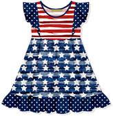Millie Loves Lily Girls' Casual Dresses - Red & Blue Stripe Stars Angel-Sleeve A-Line Dress - Toddler & Girls