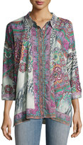 Johnny Was Shelby Button-Front Shirt, Multi Pattern