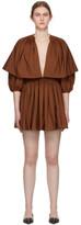 Valentino Brown Pleated V-Neck Mini Dress