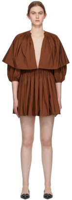 Valentino Brown Pleated V-Neck Mini Dress