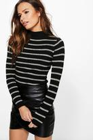 Boohoo Keira Striped Turtle Neck Jumper