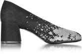 McQ by Alexander McQueen Pembury Black Suede and Silver Glitter Pump