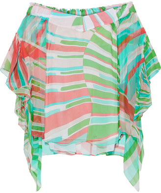 Emilio Pucci Off-the-shoulder Printed Silk-chiffon Blouse