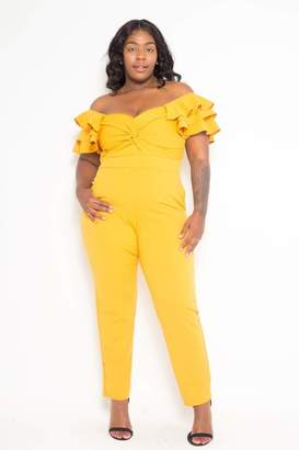 Couture Buxom Off Shoulder Ruffled Flutter Jumpsuit in Yellow Size 1X