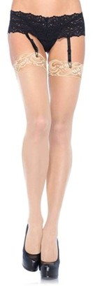 Leg Avenue Women's Sheer Lace Top Stockings ,Nude, One Size
