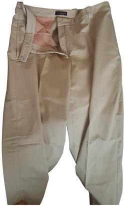 Donna Karan Beige Cotton Trousers for Women