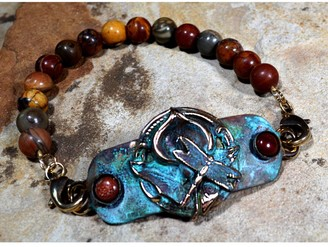 Elaine Coyne Galleries Handmade Patina Zen Dragonfly on Calla Lily Rockband