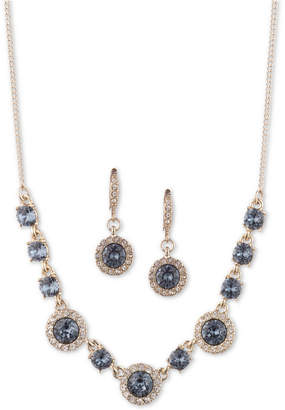 """Givenchy Crystal Halo Collar Necklace & Drop Earrings Set, 16"""" + 3"""" extender"""