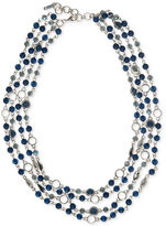 Nine West Silver-Tone Multi-Row Beaded Statement Necklace