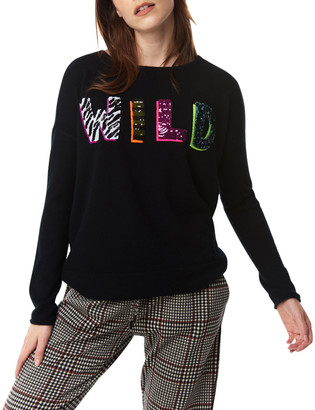 LISA TODD Wild Cashmere Sweater with Sequined Letters