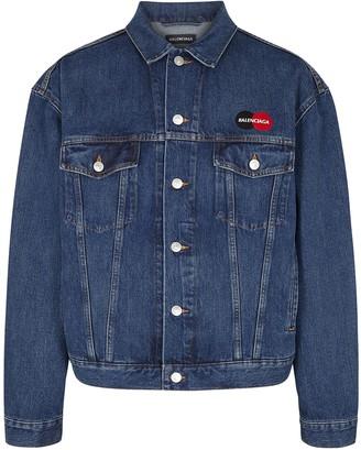 Balenciaga Blue Embroidered Denim Jacket