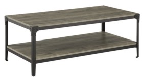 Walker Edison Urban Industrial Angle Iron Wood Coffee Table