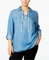 Style&Co. Style & Co Plus Size Lace-Up Denim Top, Only at Macy's
