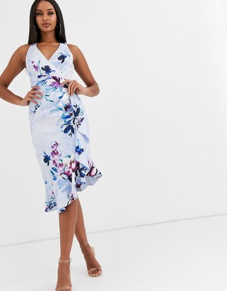 Lipsy floral high neck midi dress