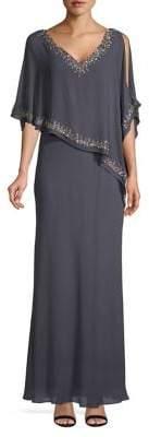 J Kara Petite Embellished Asymmetrical Cutout Capelet Maxi Dress