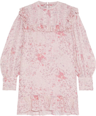 LoveShackFancy Saffron Ruffle-trimmed Embroidered Floral-print Silk-voile Mini Dress