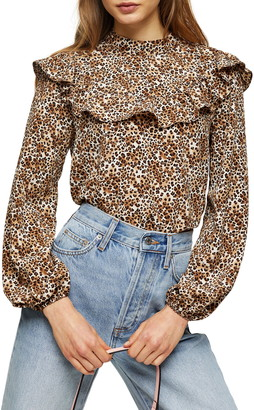 Topshop Animal Print Ruffle Yoke Blouse