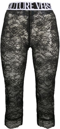 Versace Cropped Logo-Print Lace Leggings