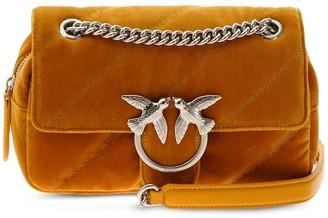 Pinko Quilted Velvet Crossbody Bag