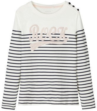 Name It Striped Cotton T-Shirt with Long Sleeves, 6-14 Years