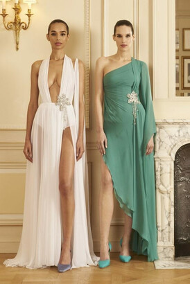 GEORGES HOBEIKA Plunging Neck Georgette Slit Gown