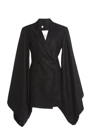 Redemption Jacquard Kimono-Sleeve Wool-Blend Double-Breasted Blazer