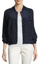 Lafayette 148 New York Dancing Dot Reversible Silk Bomber Jacket, Multi