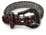 Avalaya Unique Black & Red Diamante 'Buckle' Bracelet In Gun Metal Finish - up to 19cm length