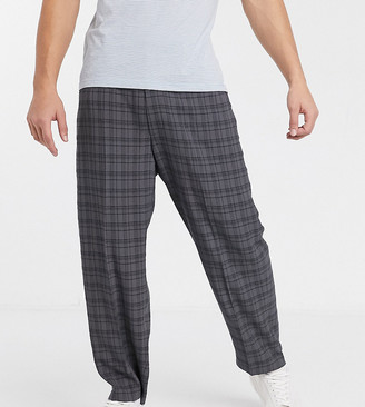 Noak wide leg check pants in gray