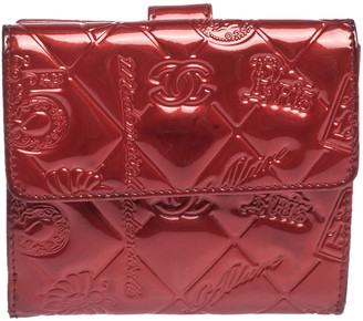 Chanel Red Embossed Quilted Patent Leather French Wallet