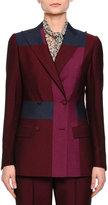 Bottega Veneta Colorblock Double-Breasted Jacket, Barolo/Peony/Pacific
