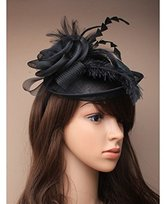 Inca Black Fascinator on Headband/ Clip-in for Weddings, Races and Occasions-4602