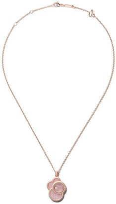 Chopard 18kt rose gold Happy Dreams pink mother-of-pearl and diamond pendant necklace