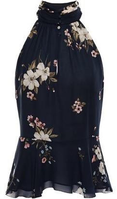 Joie Gathered Floral-print Plisse Silk-chiffon Blouse