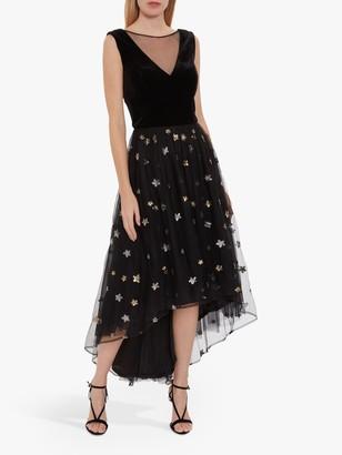 Gina Bacconi Eivet Velvet Chiffon Star Embellished Dress, Black