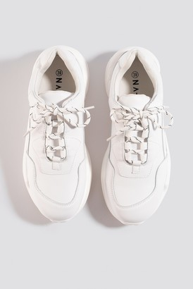 NA-KD Low Striped Lace Trainers
