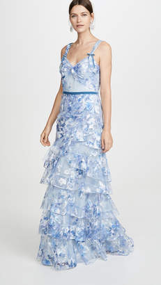 Marchesa Printed Tiered Gown