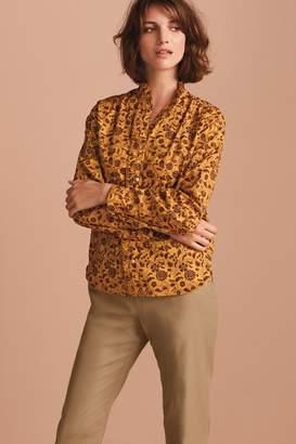 Next Womens Ochre Floral Print Frill Neck Shirt - Yellow