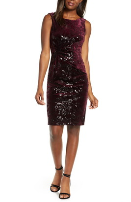 Taylor Dresses Sequin Velvet Cocktail Dress