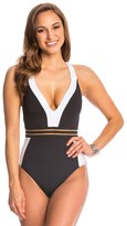 Kenneth Cole Stompin In My Stilettos Racerback Plunge One Piece Swimsuit 8144410