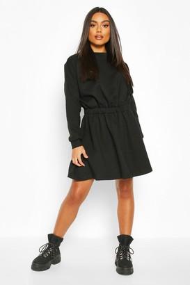 boohoo Elasticated Waist Smock Sweatshirt Dress