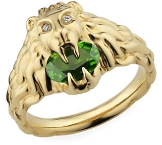 Gucci Lionhead Ring in Yellow Gold, Chrome Diopside and Diamonds