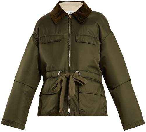 Sonia Rykiel Contrast-collar drawstring-waist satin jacket
