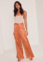 Missguided Bronze Pleat Front Wide Leg Trousers